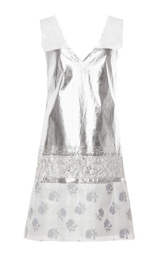 Medium thakoon silver laminated cotton voile metallic lace dress