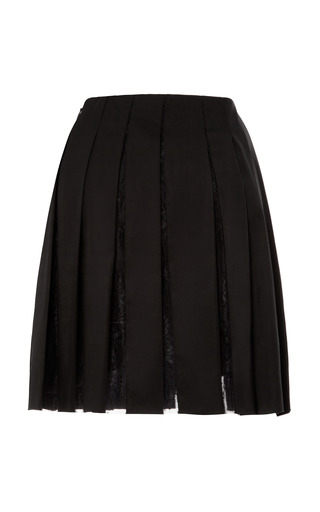 Pleated Poplin Skirt With Lace Inset by THAKOON for Preorder on Moda Operandi