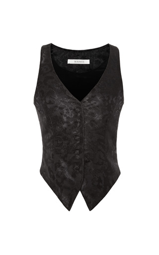 Medium rodarte black black silk brocade leopard vest