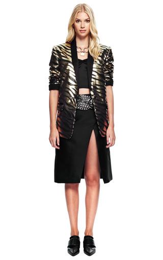 Black And Gold Metallic Zebra Jacket by RODARTE for Preorder on Moda Operandi