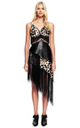 Leopard Printed Silk And Embossed Faux Black Leather Dress by RODARTE for Preorder on Moda Operandi