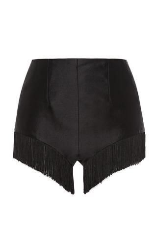 Medium rodarte black brocade fringe shorts