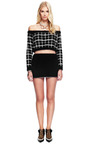 Black Metallic Plaid Angora Cropped Sweater by RODARTE for Preorder on Moda Operandi