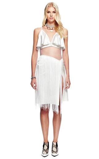 White Hammered Silk Jacquard Dress With Fringe by RODARTE for Preorder on Moda Operandi