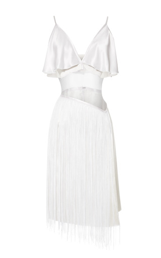 Medium rodarte white white hammered silk jacquard dress with fringe