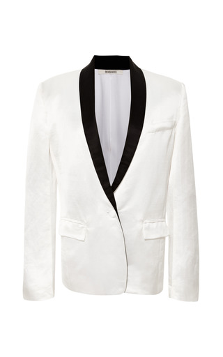 White Silk Linen Tuxedo Jacket by RODARTE for Preorder on Moda Operandi