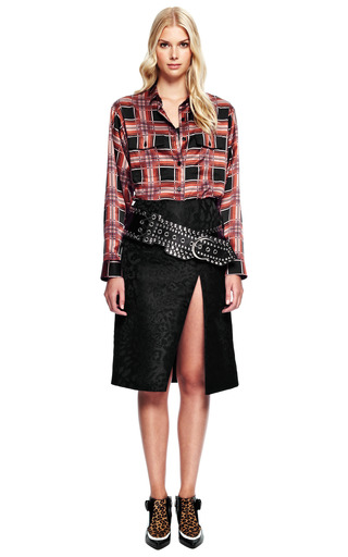 Printed Plaid Button Front Shirt In Black by RODARTE for Preorder on Moda Operandi
