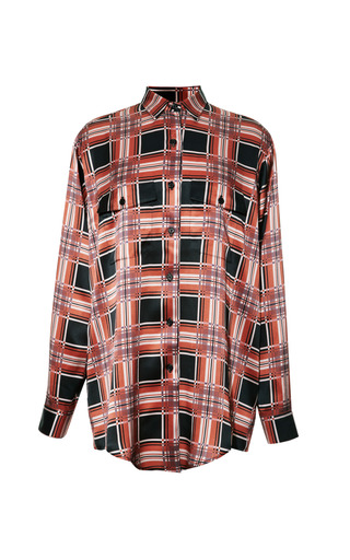 Medium rodarte black printed plaid button front shirt in black