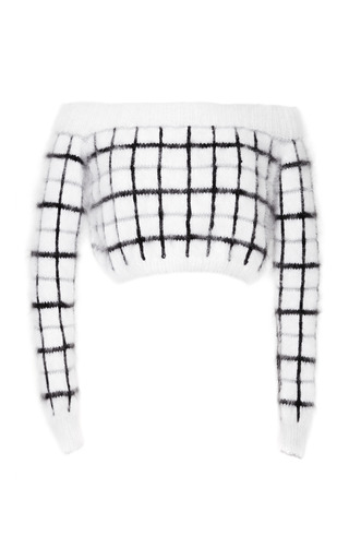 Medium rodarte white white metallic plaid angora cropped sweater