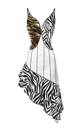 Medium rodarte black metallic zebra jacquard ruffled dress