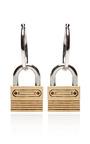Nickel And Brushed Gold Padlock Hoop Earrings by RODARTE for Preorder on Moda Operandi