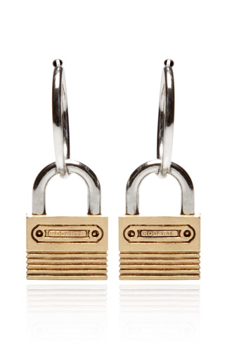Medium rodarte silver nickel and brushed gold padlock hoop earrings