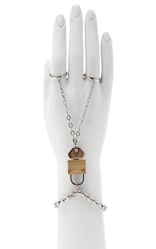 Nickel And Brushed Gold Padlock Ring Bracelet by RODARTE for Preorder on Moda Operandi