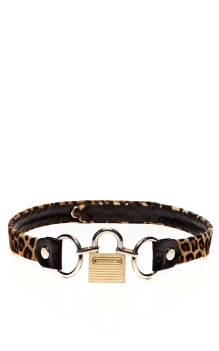 Medium rodarte multi leopard calf hair belt with padlock buckle
