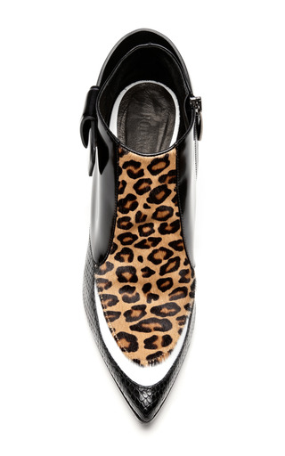 Black And White Leopard Calf Hair Bootie by RODARTE for Preorder on Moda Operandi