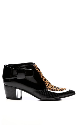 Medium rodarte brown black and white leopard calf hair bootie