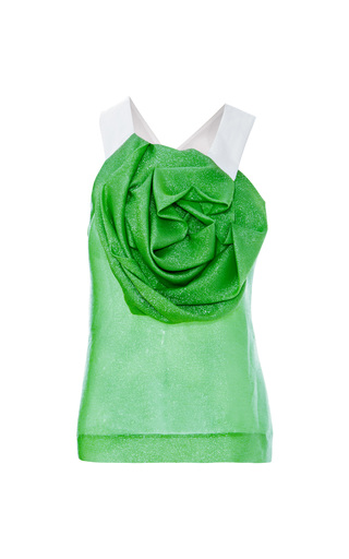 Medium prabal gurung green metallic georgette draped rose blouse
