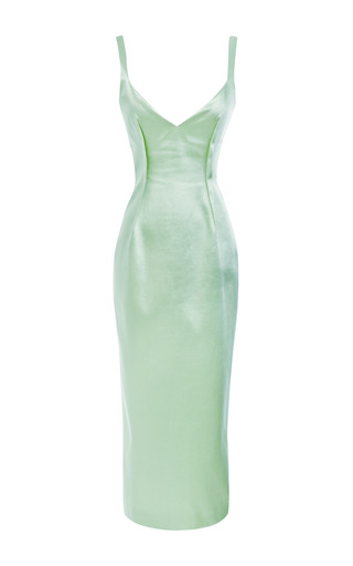Medium prabal gurung light green bonded satin sheath dress