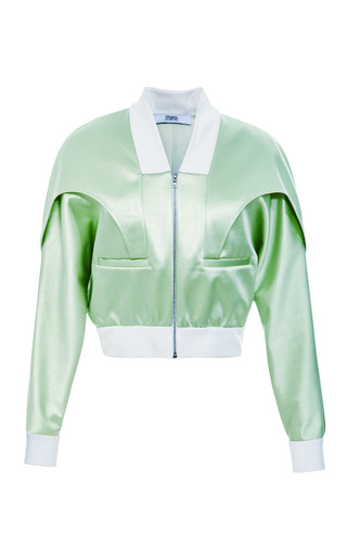Medium prabal gurung light green bonded satin bomber jacket