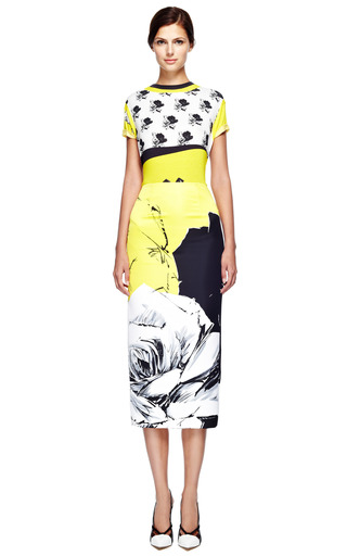 Classic Rose Long Pencil Skirt In Yellow by PRABAL GURUNG for Preorder on Moda Operandi