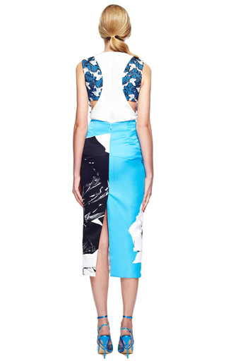 Classic Rose Long Pencil Skirt In Blue by PRABAL GURUNG for Preorder on Moda Operandi