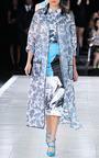 Classic Rose Long Pencil Skirt In Blue by PRABAL GURUNG for Preorder on Moda Operandi