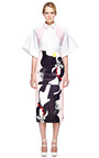 Abstract Rose Print Leather Pencil Skirt In Pink by PRABAL GURUNG for Preorder on Moda Operandi