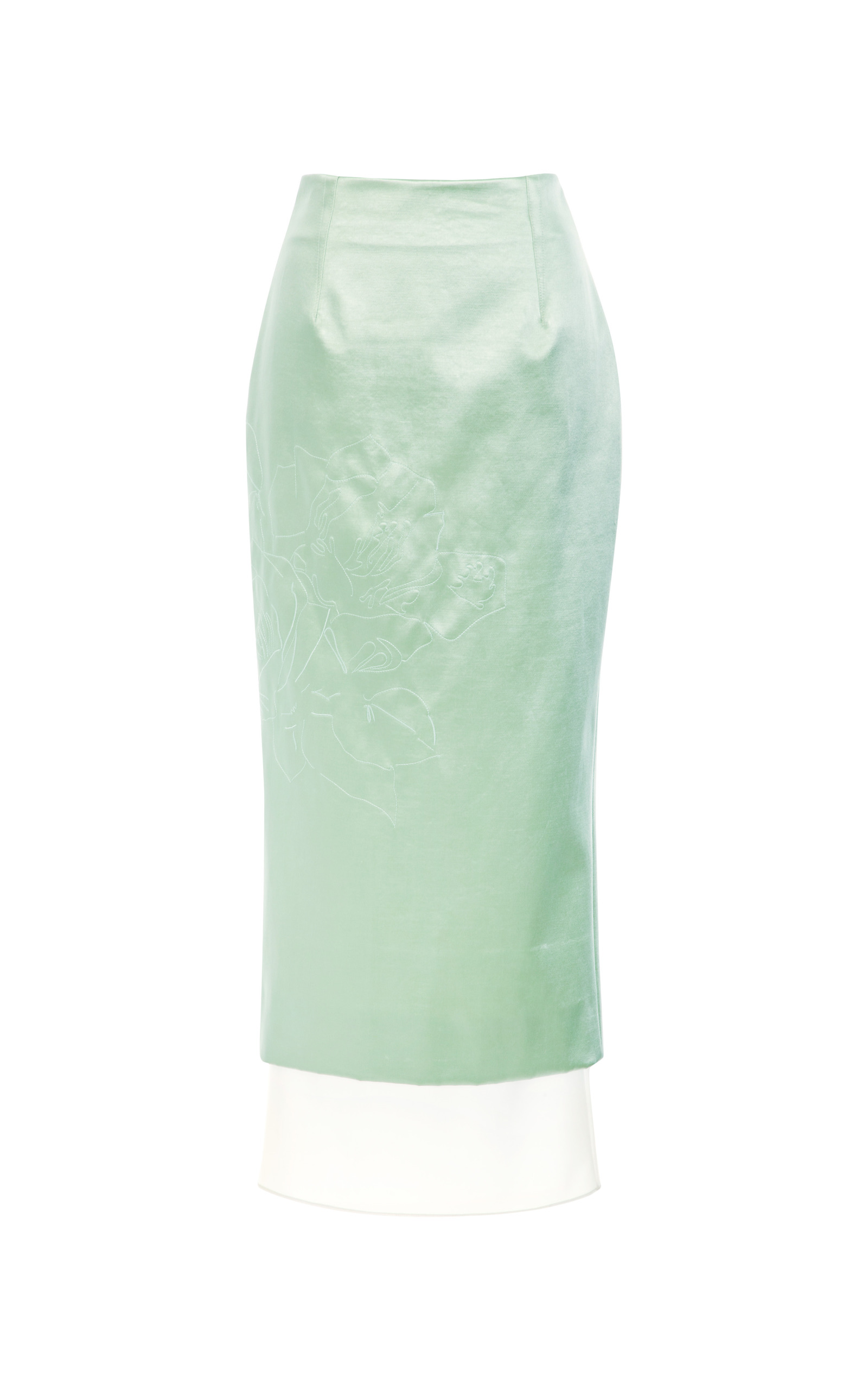 mint bonded satin pencil skirt with quilted moda