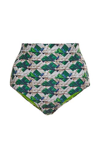 Medium agua de coco multi tresse high waisted printed bikini bottom