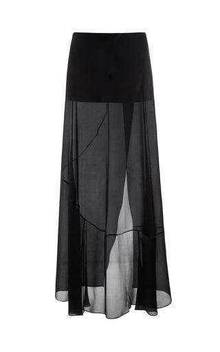 Medium narciso rodriguez black black chiffon satin skirt