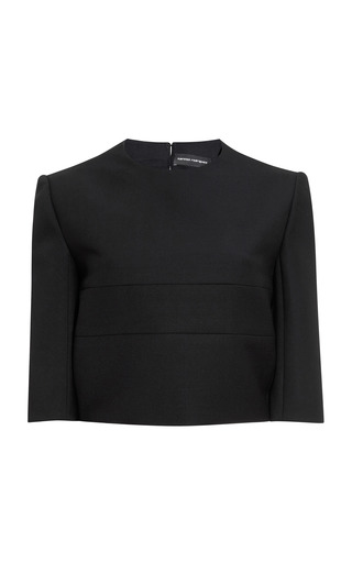 Medium narciso rodriguez black black chintzed wool suiting crop top
