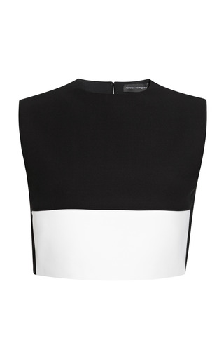Medium narciso rodriguez ivory black and ivory chintzed wool suiting crop top