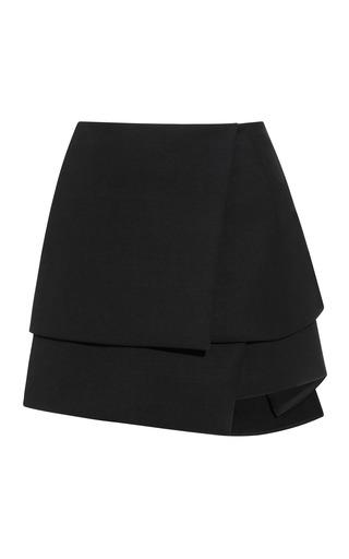 Medium narciso rodriguez black black chintzed wool suiting skirt