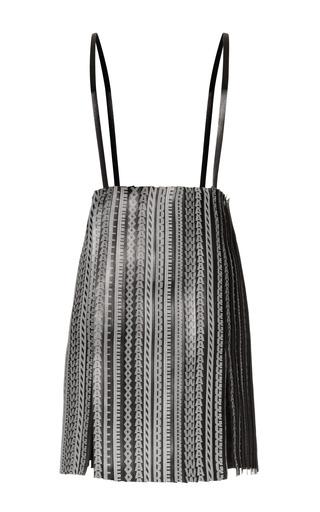 Medium alexander wang black logo leather stripped suspended skirt