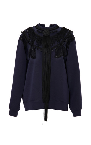 Medium marc jacobs navy navy long sleeve sweatshirt with passementerie detail