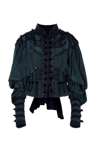 Medium marc jacobs green vintage taffeta victorian jacket with allover passementerie trim