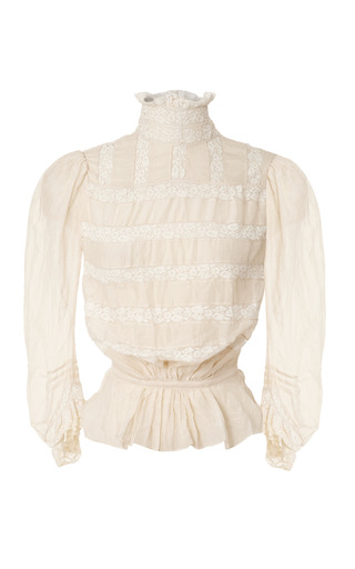 Medium marc jacobs ivory ivory cotton voile victorian blouse