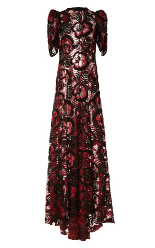 Medium marc jacobs burgundy burgundy embroidered lace boatneck gown