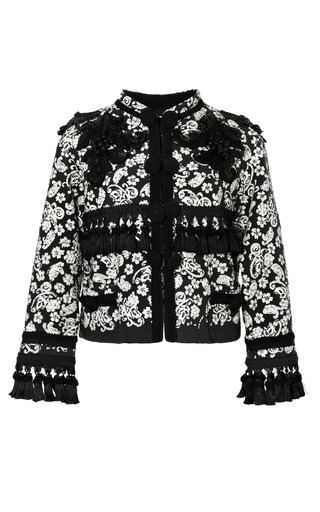 Medium marc jacobs green collarless embroidered boucle jacket with passementerie trim