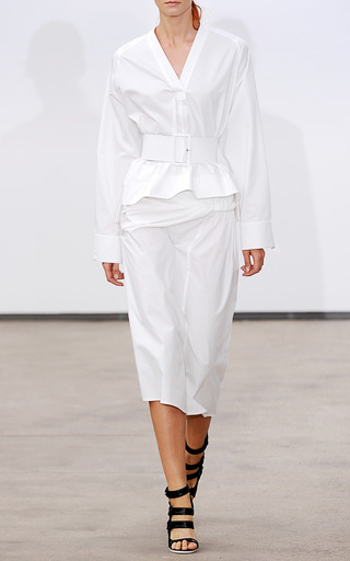 Stretch Cotton Poplin Twisted Sarong Skirt by DEREK LAM for Preorder on Moda Operandi
