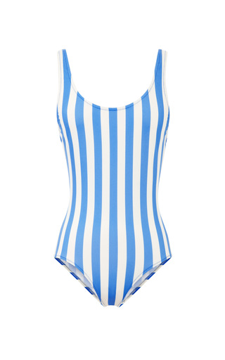 Medium solid striped white anne marie scoop back swimsuit