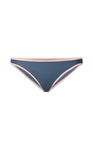 Medium solid striped dark grey miranda contrast trim bikini bottom