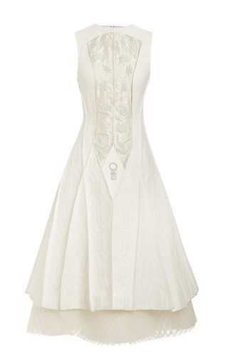 Medium thom browne white pintuck flare dress