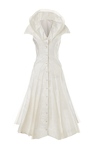 Medium thom browne white flared front shoulder fin dress