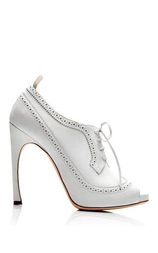 Medium thom browne white peep toe wingtip brogue in white nubuck leather