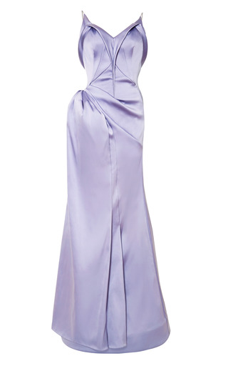 Medium zac posen purple stretch duchess gown 2
