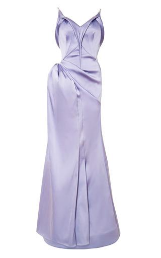 Medium zac posen purple stretch duchess gown 2