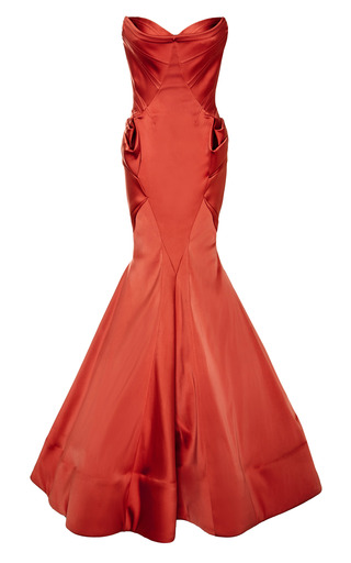 Medium zac posen coral stretch duchess gown
