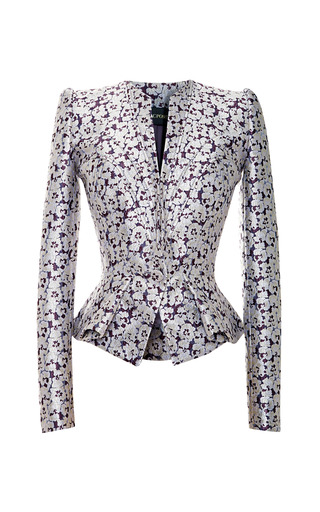 Medium zac posen purple camelia jacquard jacket