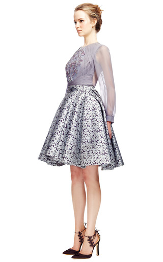 Camelia Jacquard Skirt by ZAC POSEN for Preorder on Moda Operandi
